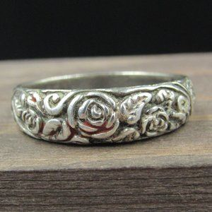 Size 9 Sterling Silver Rustic Rose Flower Band
